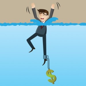 pożyczka ratalna dla zadłużonych - rysunek tonący mężczyna